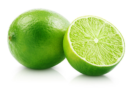 Fresh lime citrus fruit and slice isolated on white background with clipping path