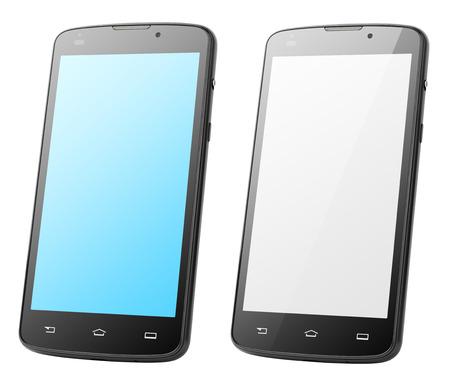 Écran tactile moderne smartphones isolé sur blanc avec chemin de détourage