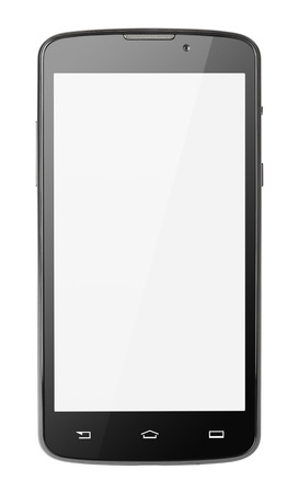 lcd display: Modern touch screen smartphone isolated on white