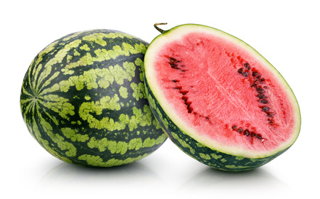 Ripe watermelon with half isolated on white background
