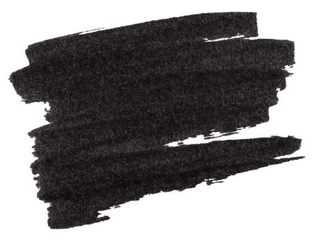rotulador: Marcador negro textura de la pintura aislado en el fondo blanco
