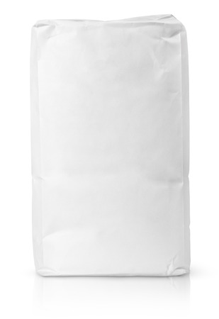 coffee sack: Blank paper bag package of flour isolated on white with clipping path