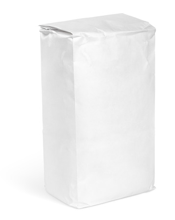 closeup on bags: Blank paper bag package of flour isolated on white with clipping path