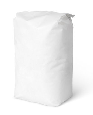 Blank paper bag package of salt isolated on white with clipping path photo