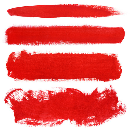 Set of red strokes of gouache paint brush isolated on white 스톡 콘텐츠