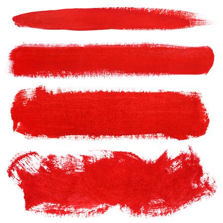 Set von roten Strichen Gouache Pinsel isoliert auf weiß Standard-Bild - 38923903