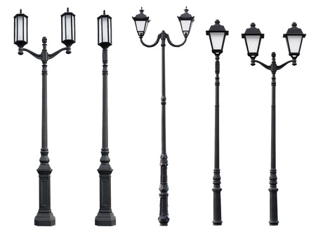 metal post: Aet of Old Vintage Street Lamp Post Lamppost Light Pole isolated on white