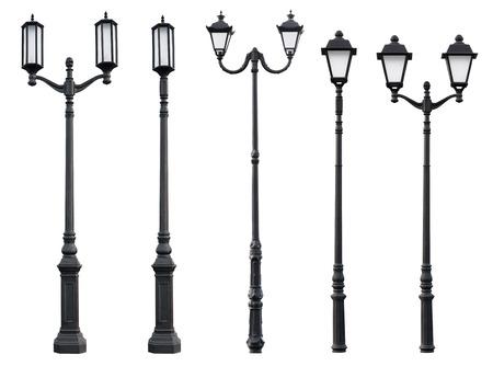Aet van Oude Vintage straat lamp post Lantaarnpaal Lichte Pool op wit wordt geïsoleerd Stockfoto