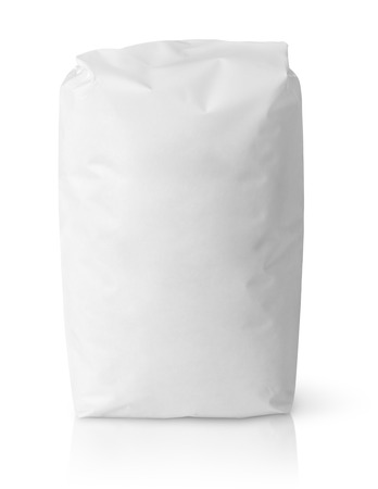 Blank paper bag package of salt isolated on white with clipping path Foto de archivo