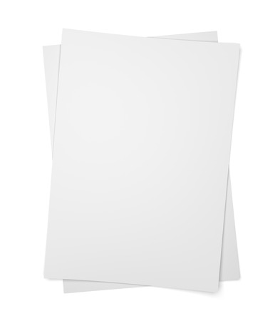 2 objects: Two paper sheets on isolated on white background