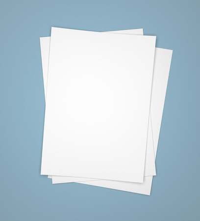 paper sheets: Three white paper sheets on blue background Stock Photo