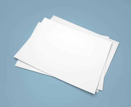 Three white paper sheets on blue background 스톡 콘텐츠