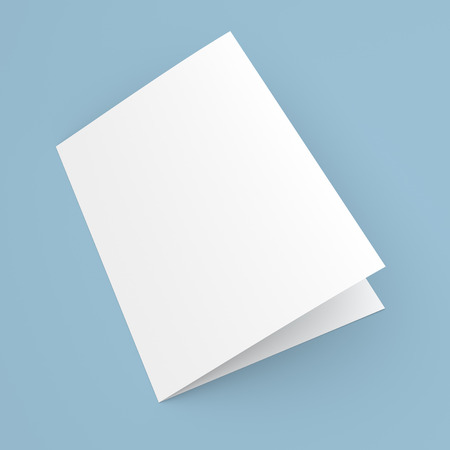 Blank folded flyer, booklet, postcard, business card or brochure mockup template on blue background 版權商用圖片