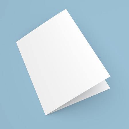 Blank folded flyer, booklet, postcard, business card or brochure mockup template on blue background Banque d'images
