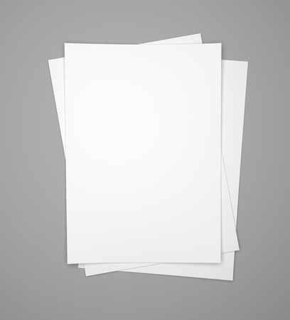 Three white paper sheets on gray background