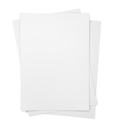 paper sheets: Three paper sheets isolated on white background Stock Photo