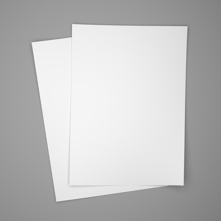 2 objects: Two white paper sheets on gray background