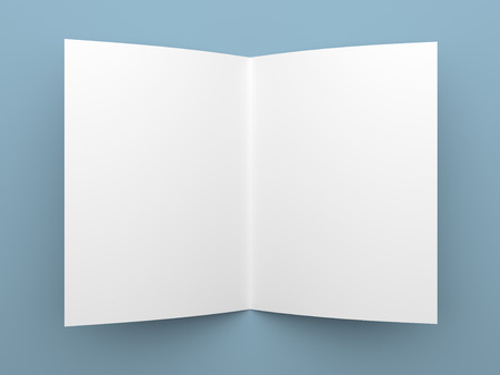Top view of blank folded flyer, booklet or brochure mockup template on blue background