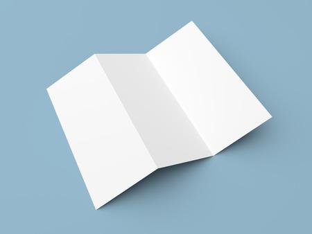 paper document: Leaflet blank tri-fold white paper brochure mockup on blue background
