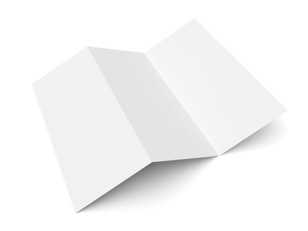 Leaflet blank trifold paper brochure mockup isolated on white background Banque d'images
