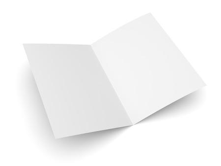Blank gefaltet Flyer, Broschüre, Postkarte, Visitenkarte oder Broschüre Mockup-Vorlage auf weißem Hintergrund Standard-Bild - 40691555