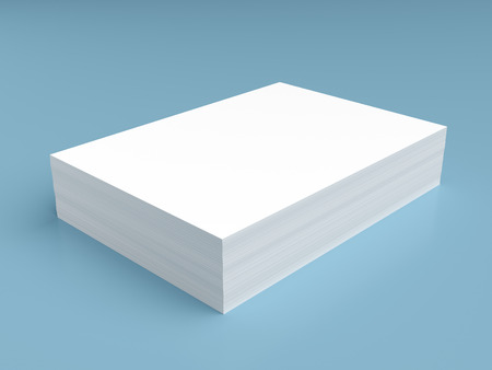 Stack of white paper on blue background
