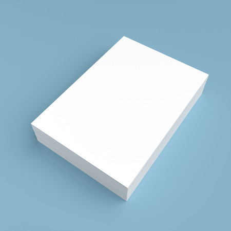 pile of paper: Stack of white paper on blue background