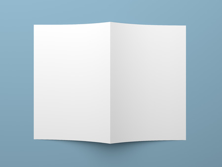 one sheet: Top view of blank folded flyer, booklet, business card or brochure mockup template on blue background