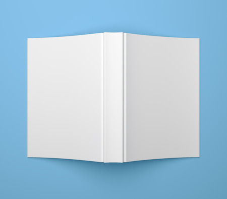 Blank soft cover book template on blue background photo
