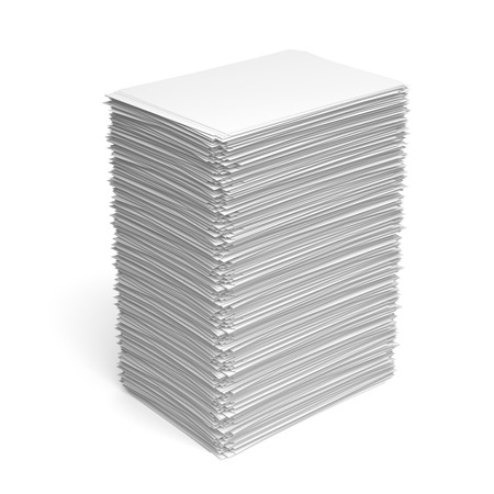 Pile of paper sheets isolated on white background Imagens