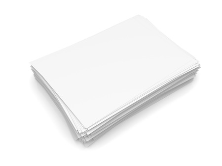 Heap of paper sheets isolated on white background