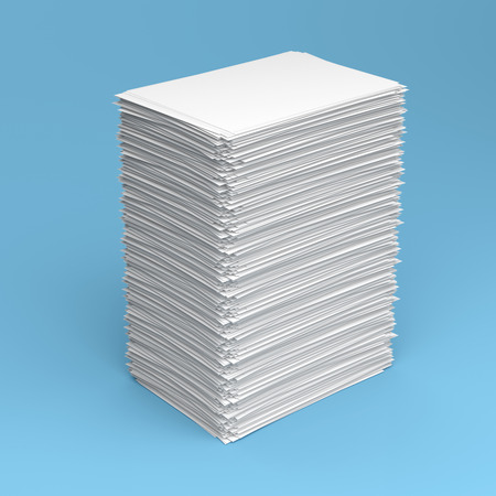 Pile of white paper sheets on blue background Imagens