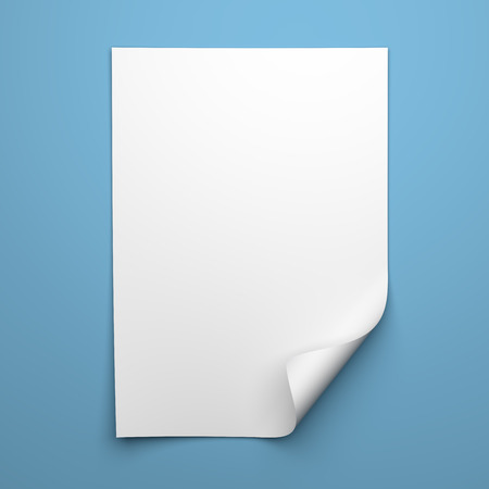 Blank empty sheet of white paper with curled corner on blue background