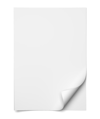 Blank empty sheet of paper with curled corner isolated on white background Banque d'images