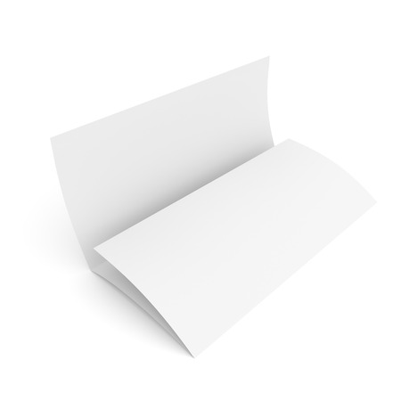 Leaflet blank tri-fold paper brochure mockup isolated on white background