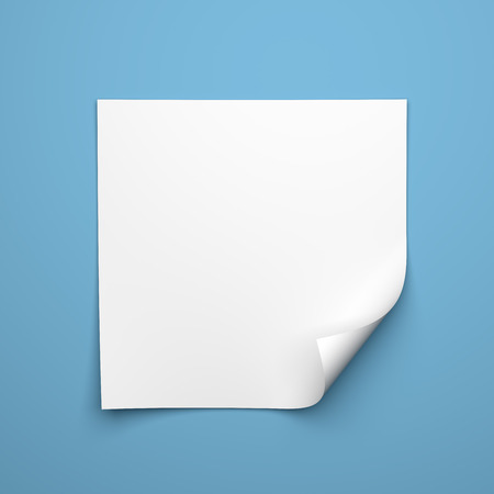 Blank empty square sheet of white paper with curled corner on blue background