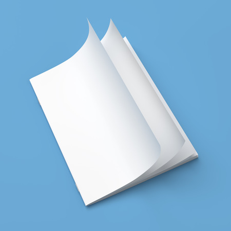 log book: White cover empty magazine blank on blue background