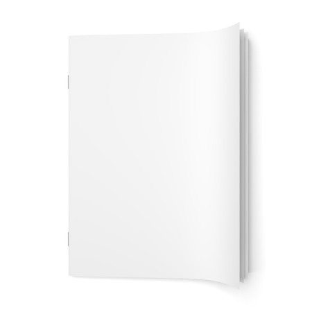 Top view of cover empty magazine blank isolated on white background