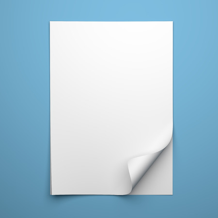 curled corner: Blank empty sheet of white paper with curled corner on blue background