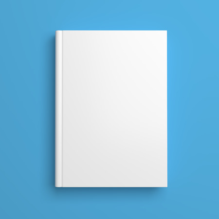 Top view of white blank book cover on blue background with shadow