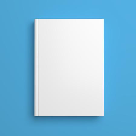 portadas de libros: Vista superior de la portada del libro blanco en blanco sobre fondo azul con sombra