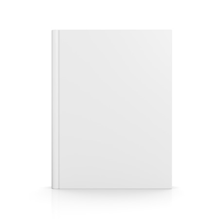 Front view of blank book cover standing on white background with shadow