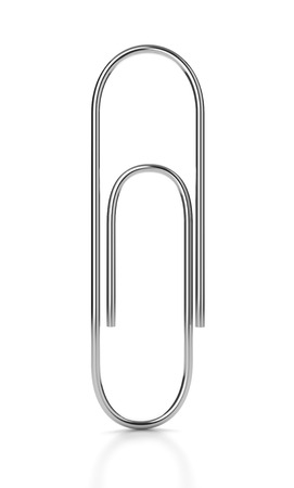 paper clips: Front view of metal paper clip isolated on white background Stock Photo