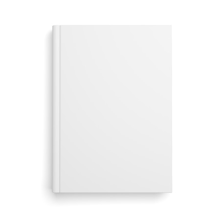 Blank book cover isolated over white background with shadow
