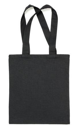 블랙 패브릭 에코 가방 흰색 배경에 고립 스톡 콘텐츠 - 43143464