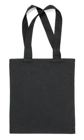 Black fabric eco bag isolated on white background Banque d'images