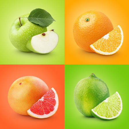 apple and orange: Set of colorful fruits - apple, orange, grapefruit, lime. Healthy food background