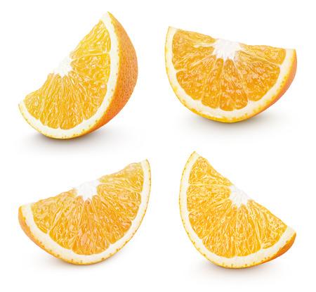 orange cut: Set of slice of orange citrus fruit isolated on white