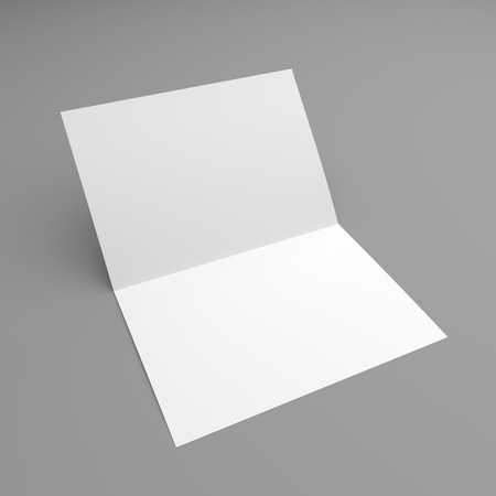 postcard: Blank folded flyer, booklet, postcard, business card or brochure mockup template on grey background Stock Photo