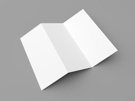 papeleria: Folleto en blanco maqueta folleto libro blanco de tres veces en el fondo gris